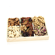 Fruits, Raw Nuts w/Wooden Tray 3 Partition