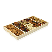 Tray- Raw Nuts In Wooden Tray